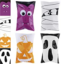 URATOT 200 Pieces Halloween Trick or Treat Bags Halloween Candy Bags Self Adhesive Candy Bags Clear Snacks Halloween Party...