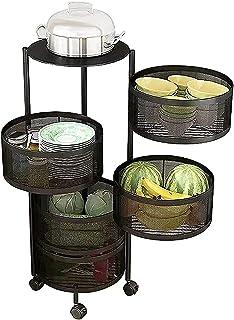 LHQ-puffs Chariot de Cuisine avec Roues, étagère d'angle Ronde en métal pour Organisateur de Support à épices, Support Rot...