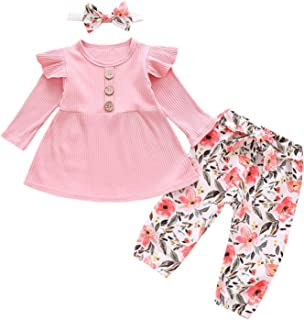 Bebé Ropa para niñas pequeñas Mamelucos de Manga Larga Conjuntos de Ropa de Flores Trajes de Lazo Pantalones con Conjuntos...