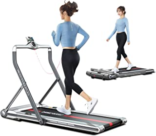 RHYTHM FUN Treadmill Folding Treadmill Under Desk Walking Treadmill with Foldable Handtrail Wide Tread Belt Super Slim Mini Quiet Home Treadmill with Smart Remote Control and Workout App (Silver)