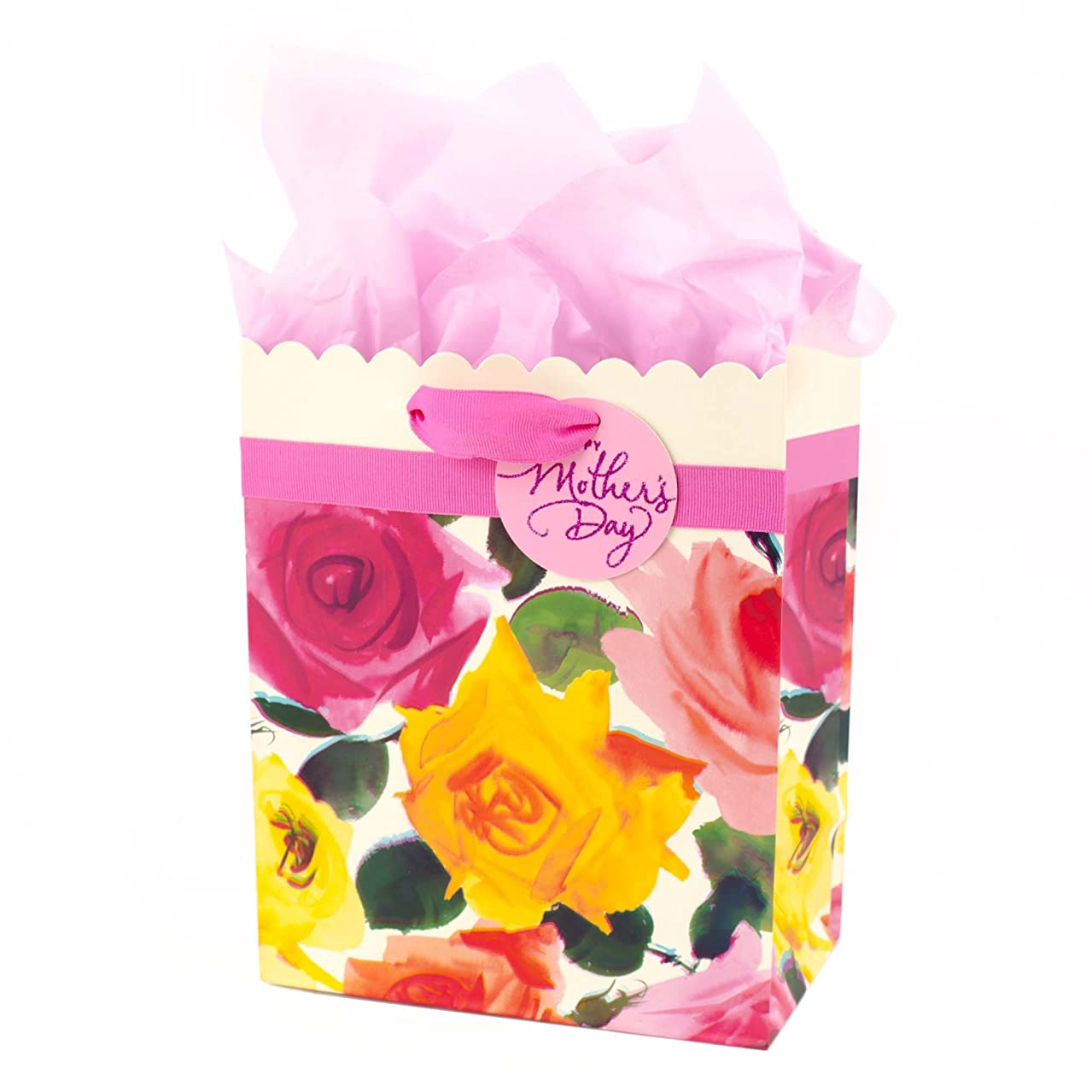 Hallmark Medium Mothers Day Gift Bag with Tissue Paper (Scalloped Floral)