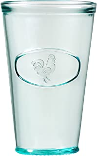 Amici Home Relief Drinking, Recycled Glassware, Made, A7AJ715S6R, Rooster Italian Hiball Glass, Set of 6, 16 oz each, Medium/16 oz, Clear