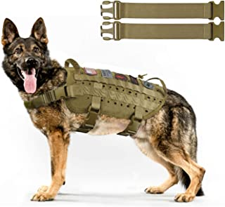 Tactical Service Dog Harness Vest,K9 Adjustable Work Water-Resistant Military Comfortable Molle Handle with Extenrder Strap