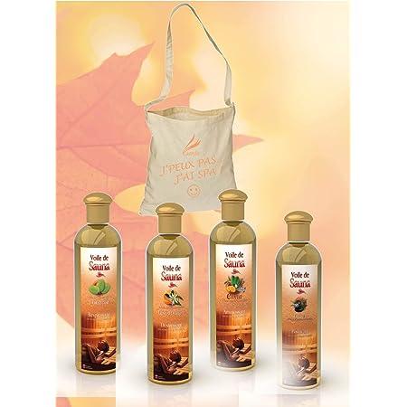 Camylle - Sélection Voile de Sauna avec en cadeau un superbe sac en coton comprenant quatre flacons : 1 x 250ml Eucalyptus - 1 x 250ml Fleur d'Orangers - 1 x 250ml Elinya - 1 x 250ml Orient