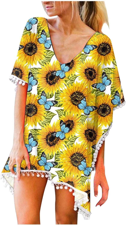 Womens Summer Casual Dresses, Womens Swimsuits Beach Blouse Trim Tassels Pullover Tops Swimwear Bikini Cover Ups