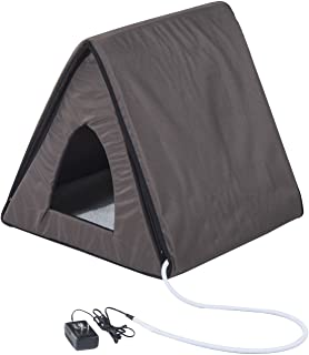PawHut Outdoor Heated/Unheated A-Frame Cat House - Brown