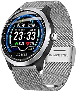 2019 New Smart Watch for Men Women Fitness Tracker Waterproof Pedometer N58 Health Monitoring Color Screen Blood Pressure/Heart Rate Monitor Smart Bracelet Watch (Silver)