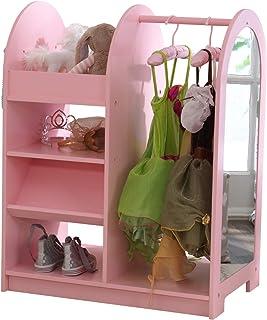 أثاث كيدكرافت الخشبي للأزياء التظاهرية للأطفال مع مساحة تخزين ومرآة - لون وردي