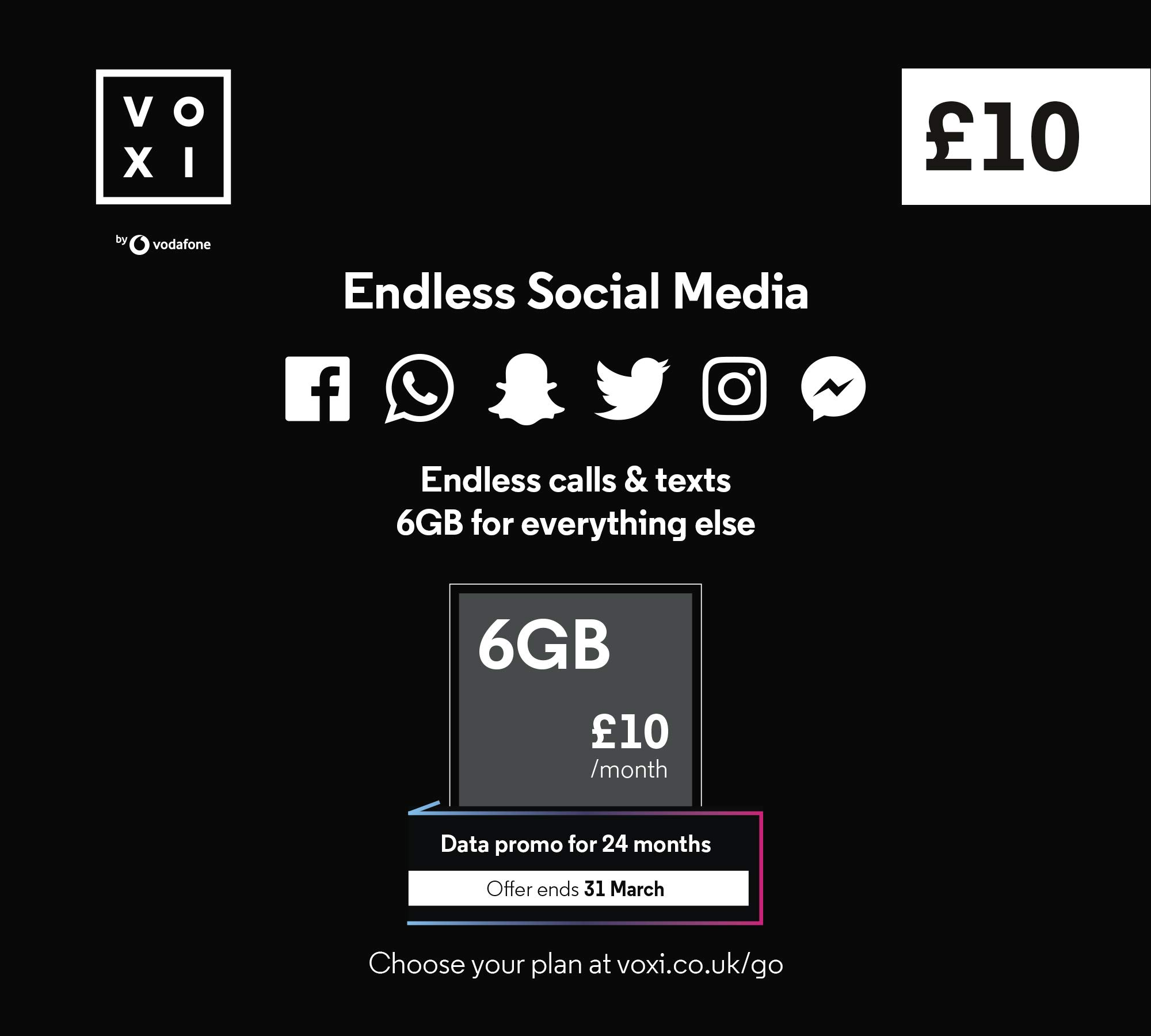 Vodafone VOXI SIM Card Endless Social Data, Calls, Texts Roaming (VOXI is The Mobile Network Under 30s): Amazon.es: Electrónica