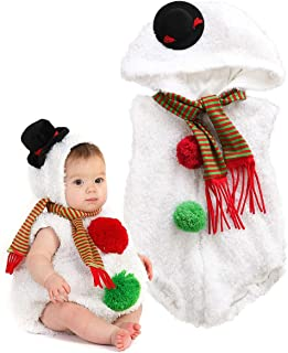 Newborn Infant Boy Girl Baby Christmas Costume Snowman Hoodie Romper with Scarf Dress Up Clothes Outfits