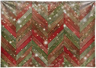 Funnytree 7x5FT Durable Fabric Christmas Chevron Wood Photography Backdrop for Party Decoration Bokeh Rustic Planks Background Photo Booth
