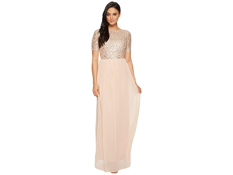 Adrianna Papell Beaded Bodice Elbow Sleeve Gown (English Rose) Women
