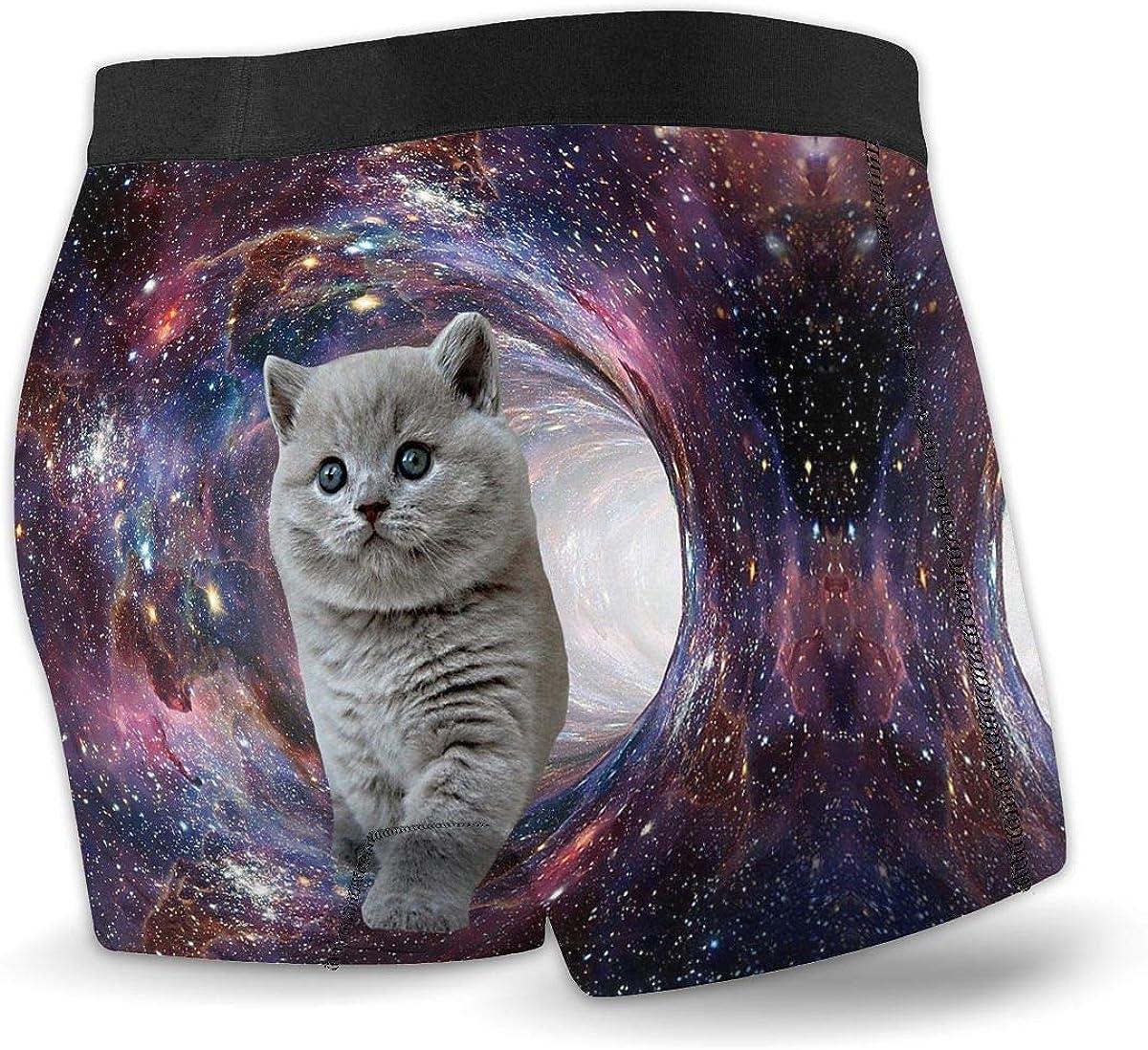 SETSBO Funny Boxer Briefs for Men Galaxy Cat Printed Underwear Underpants