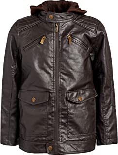 Urban Republic Boys Faux Leather Jacket with Fleece Hoodie
