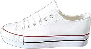 Zapatillas Blancas Mujer con Plataforma Deportivas Canvas de Lona Sin Marca Ni Logotipos, Suela Doble Blanco - Ojo! Tallan Pequeñas