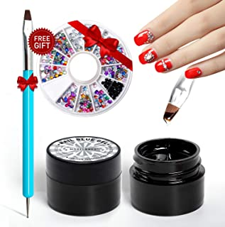 Modelones Nail Art 5ml Nail Glue Gel 2pcs Adhesive Resin Gem Jewelry Diamond Gel Nail Polish Clear Decoration With Dual-Use Pen Tools (UV Light Cure Needed) With Gift Nail Crystal Rhinestone