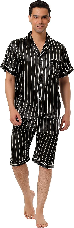 Lars Amadeus Men's Stripe Pajamas Sleeve Sales Short Popular products Button Set Summer