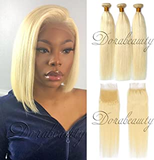 Dorabeauty #613 Platinum Straight Blonde 4×4 Lace Closure with 3 Bundles ST 10