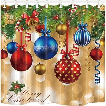 Año Nuevo Navidad Cuenta Regresiva Cortina De Ducha Tela Decoración cuarto de baño y 12 Ganchos