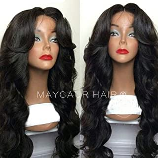 Maycaur Body Wave Wigs 180 Density Long Wave Synthetic Lace Front Wigs For Women Black Color Hair 24 Inch