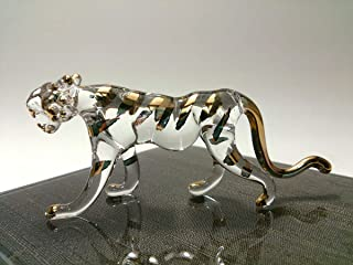 Sansukjai Tiger Miniature Figurines Hand Blown Glass Art W' 22k Gold Trim Animals Collectible Gift Home Decor, Clear Gold