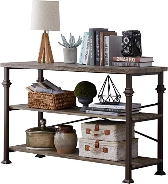 Hombazzar 3 Tier Industrial Rustic Sofa Table Rectangular Console Hall Entry Table With Storage Shelf For Entryway Living Room Hallway Grey Oak 47 Inch Long