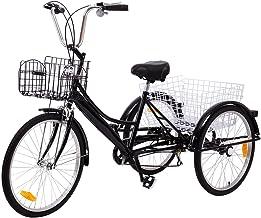 Ridgeyard Volwassen Driewielers 24 Inches 7 Speed 3 Wiel Volwassen Trike Fiets Fietsen Pedaal met Winkelmand (Zwart)