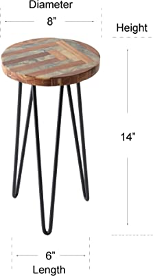 CASADECOR Garden Table with Metal Legs for Balcony,Living Room and Hallway Space Decor Table