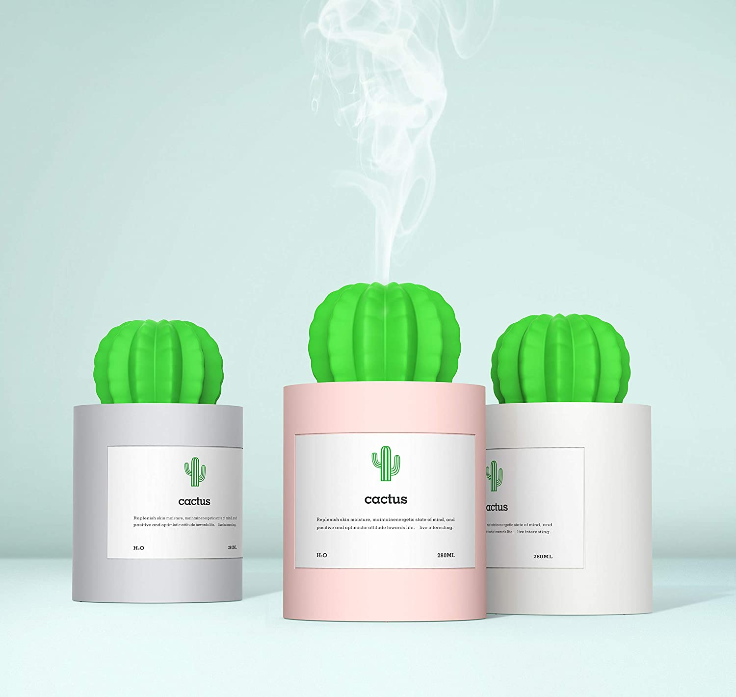 USB Cool Mist Humidifier with Reservation Night Mini Size Light Cactus Humi Free shipping