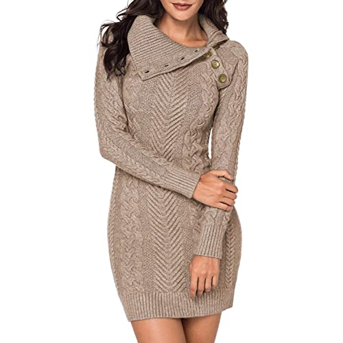 3a4853a4c80 BLENCOT Womens Turtleneck Long Sleeve Elasticity Chunky Cable Knit Pullover  Sweaters Jumper with Pockets