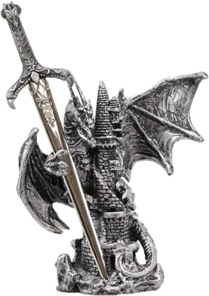 Ebros Gift Legendary Silver Dragon Protecting Castle Tower Letter Opener Figurine Sculpture Home And Office Decorative Sculpture Medieval Renaissance Dungeons And Dragons Fantasy
