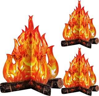 Fogata de Cartón Decorativa 3D Fuego Artificial de Centro de Mesa Llama Falsa Fiesta de Papel Decorativa Antorcha de Llama...