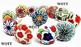 WOTT Set of 10 Vintage Color Multi Designed Flat Ceramic Cupboard Cabinet Door Knobs Drawer Pulls & Chrome Hardware