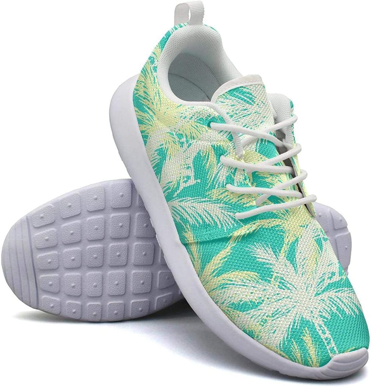 CHALi99 Comfort Womens Lightweight Mesh shoes Tropical Palm Leaves Sneakers Outdoor Lace-Up