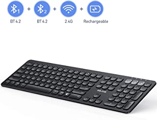 Jelly Comb Multi-Device Bluetooth Keyboard, Dual Mode Rechargeable 2.4G Wireless & Bluetooth Keyboard Full Size Switch to 3 Devices for PC Laptop iPad Mac OS Android iOS Windows-(Black)