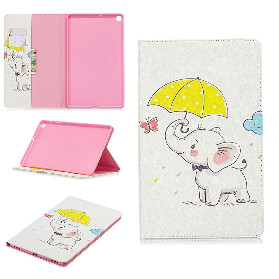 EC-Touch Tablet Leather Case Compatible for Samsung Galaxy Tab A 10.1 2019 (ONLY for SM-T510/T515)- PU Leather Stand Cover with Card Slot Flip Folio Cover (Umbrella elephant)