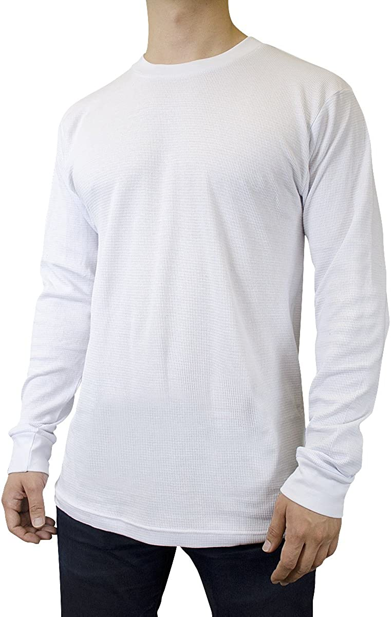 Men's Mid Weight Thermal Long-Sleeve Top Shirt (White, Small)