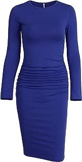 Women's Long Sleeve Ruched Casual Sundress Midi Bodycon Sheath Dress