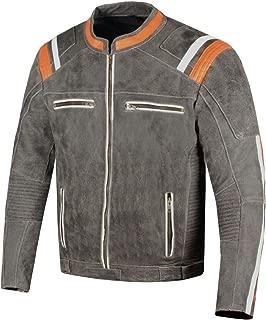 Men's Classic Cafe Racer Street Motorcycle Distress Leather Armor Biker Jacket XXL