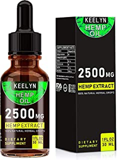 Hemp Oil for Pain Relief - Anti Anxiety Stress Support Sleep, 2500MG Herbal Drops, Pure Natural Organic Extract