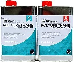 Polyurethane Expanding Liquid Foam 1/2 Gallon KIT, 4 LB Density Polyurethane Foam, Includes 1 Quart of A & 1 Quart Part B, 2 Part Polyurethane Marine Foam