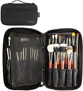 Best Professional Cosmetic Case Makeup Brush Organizer Makeup Artist Case with Belt Strap Holder Multi functional Cosmetic Bag Makeup Handbag for Travel & Home Gift (Black) Review