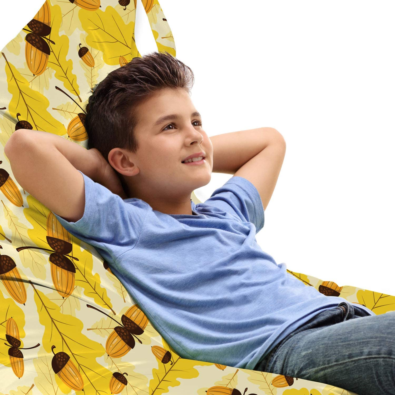 Fresno Mall Max 48% OFF Ambesonne Autumn Lounger Chair Bag Pattern Seasonal of Fall Oak