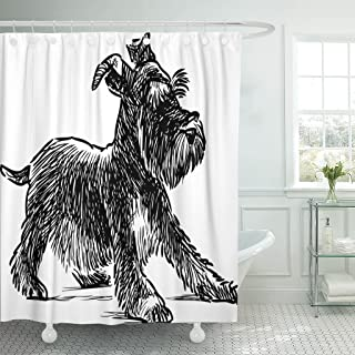 Emvency Shower Curtain Dog Schnauzer Puppy Drawing Silhouette Animal Beard Black Waterproof Polyester Fabric 60 x 72 Inches Set with Hooks