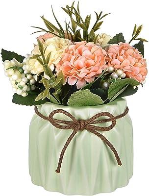 Ramo de hortensias artificiales Hamore con pequeño jarrón de cerámica, flores artificiales de hortensia, variedad de flores de seda, bonsái para mesa, fiesta, oficina, boda, decoración del hogar, color rosa, Verde, 1
