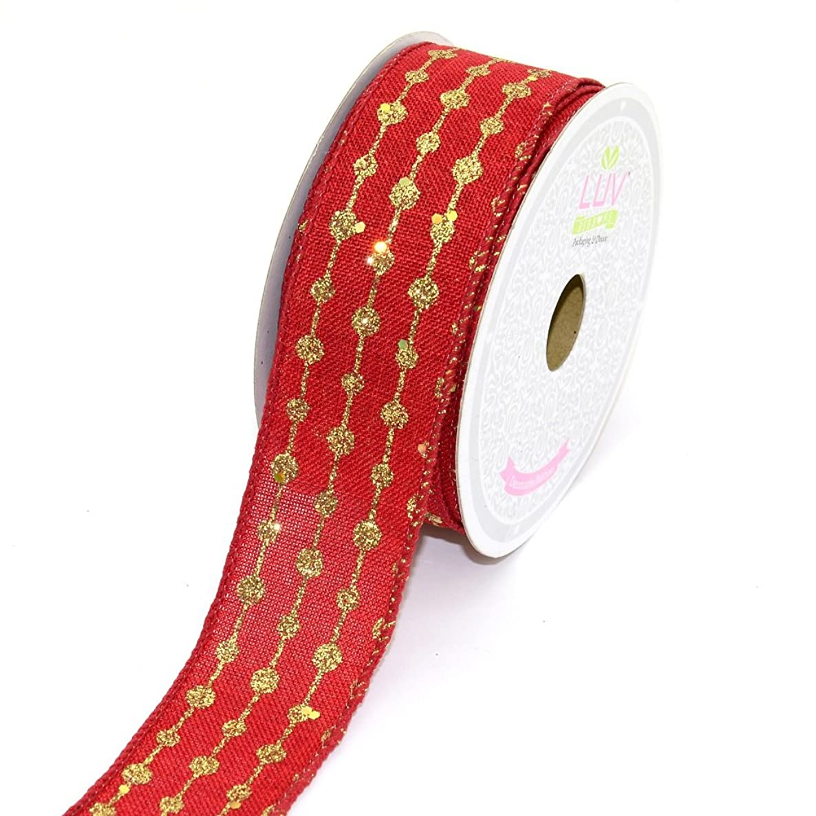 LUV RIBBONS by Creative Ideas, Canvas 1-1/2-Inch Glitter Dots Ribbon, 10 Yards, Red