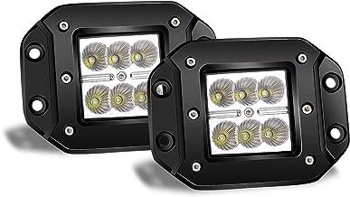 Turbo 2pcs Flood 3x3 Dually Flush Mount Led Light Lamps Dually D2 Off Road Back Up Reverse lights for 4x4 4wd Jeep Truck F150 F250 F350 Toyota Tacoma Honda Dodge Ram Chevy Silverado Front/Rear Bumper