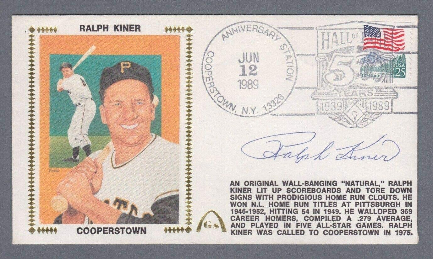 Ralph Ranking TOP20 Kiner Minneapolis Mall HOF Signed 6 12 89 FDC Cachet Hologram BE ML with -