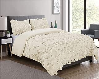 HIG 3 Piece Comforter Set Queen-Ivory Microfiber One Hundred Burrterfly Flower Applique -Enfield Bedding Collection Queen Size-Soft, Hypoallergenic,Fade Resistant-1 Comforter,2 Standard Shams