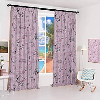 GUUVOR Paris Sun Protection Insulated Bedroom Living Room Curtain Paris Themed Sketch Art with Bike Dog Shoes Lantern Hot Air Ballon Bird Cage 2 Panels W52 x L63 Inch Pink White Black